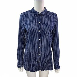 Old Navy Long Sleeve Blue Floral Button Down Shirt